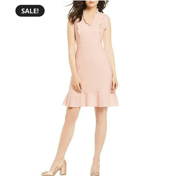 Karl Lagerfeld Dresses & Skirts - Karl Lagerfeld V-Neck Ruffle Trim Dress Size 4